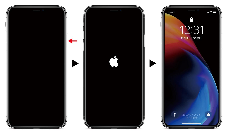 ①サイドボタン長押し → ②Appleのロゴマークが表示 → 画面が表示される