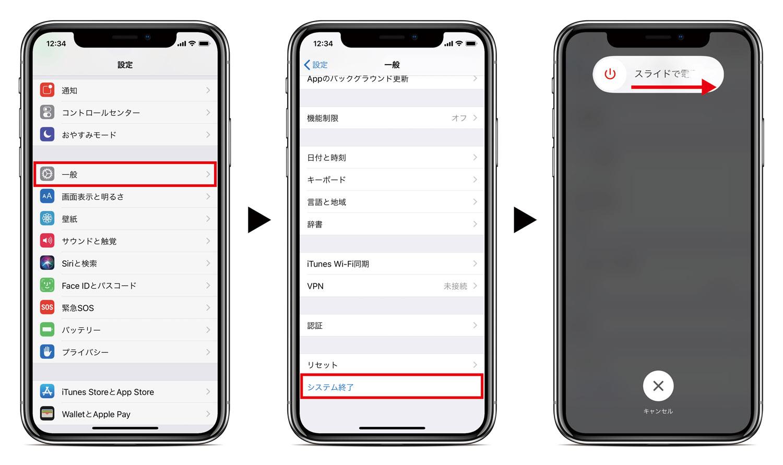 ①設定アプリの「一般」 → ②「システム終了」からスライドで電源オフ